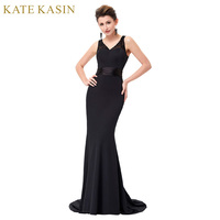 Kate Kasin Jersey Black Evening Dresses Long Bride Mother Dress Ladies Abendkleider 2017 Mermaid Evening Gowns Abito da Sera