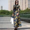 Новый maxi dress женщины с длинным рукавом turn down воротник полная длина шить довольно партия тонкий одежда печатные цветы дизайнер