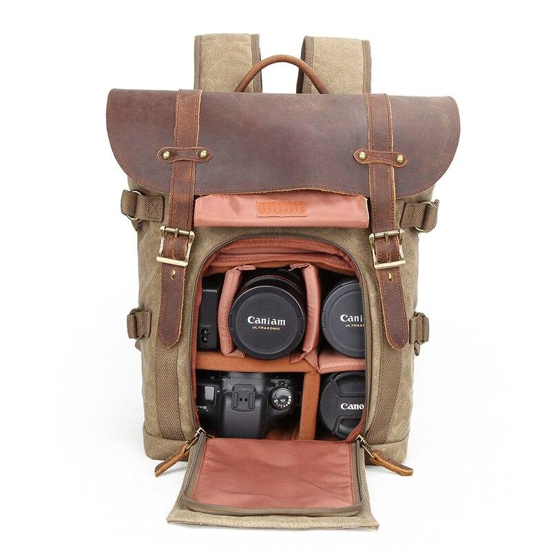 バティックキャンバス防水写真のバッグ屋外耐摩耗性大カメラ男性ニコン/キヤノン/ソニー富士フイルム  グループ上の スーツケース & バッグ からの バックパック の中 2