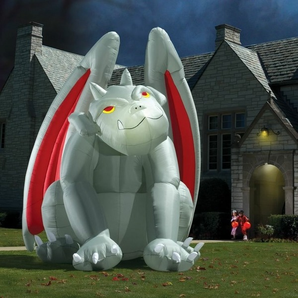 halloween inflatable front yard decoration huge gargoyle with lighting - Blow Up Halloween Decorations