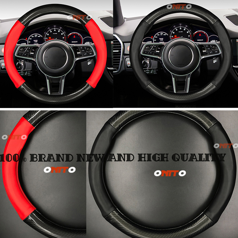 100% New Car steering-wheel 38cm Leather carbon fiber black leather Dermay Car Steering Wheel Cover Fit For Most Cars Styling стоимость