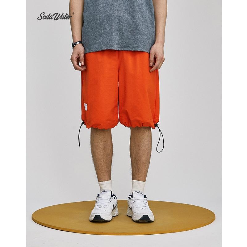 SODA WATER Drawstring Shorts 2019 Summer Street Style Loose Casual Shorts Solid Shorts Swag Hip Hop Elastic Waist Shorts 9317S