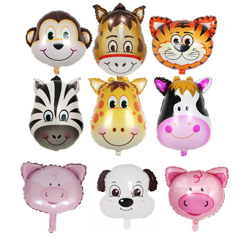 1pcs Monkey Tiger Zebra Dog Cow Pig Head Helium Foil Balloons Birthday Air Balloons Animal Theme Party Wedding Decoration