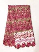 Oferta especial de alta calidad de tul africano Mayorista tela de encaje Francés bordado neto tela de encaje adorno para el vestido AMZ765