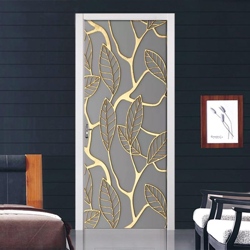 Creative 3D Golden Leaves Door Sticker DIY Home Decor Decal Self Adhesive Wallpaper Waterproof Mural For Bedroom Door Renovation