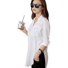 Retail Wholesale Women Long Sleeve Chiffon Shirt Turn-down C