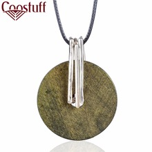 Round Wooden Pendant Woman Jewelry Vintage statement necklaces & pendants Wholesale Long Women Necklace relogio choker colar