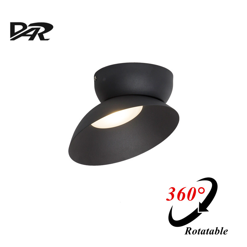 2017 DAR Ceiling Lights Black White Rotatable 7w Led Light Ceiling Fixtures AC 90-260V Surface Mounted Iron Ceiling Lamp