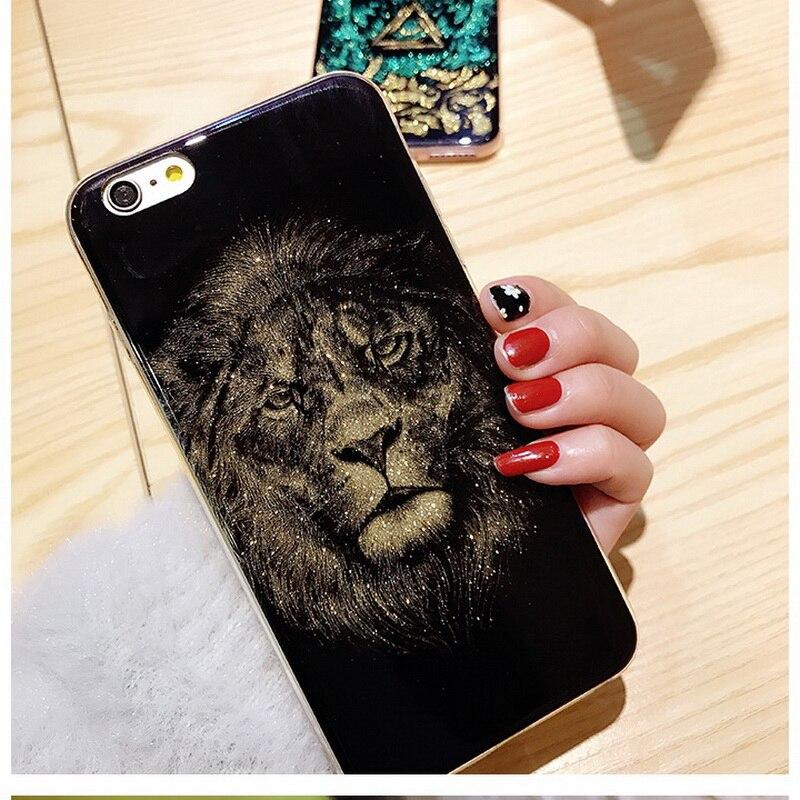 Banjolu Cool Lion Tête Brillant Bling Glitter Cas de Téléphone pour iPhone X 8 7 Plus 6 6 s Plus Souple TPU Retour Housse pour Fille Hommes
