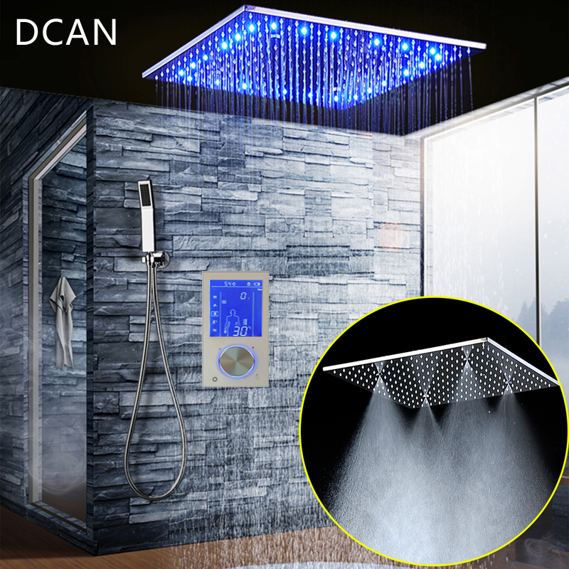 Bathroom 3 Ways Shower Sets Intelligent LCD Digital Concealed 20 SPA Mist Thermostatic LED Smart Shower Set Touch Panel Mixer