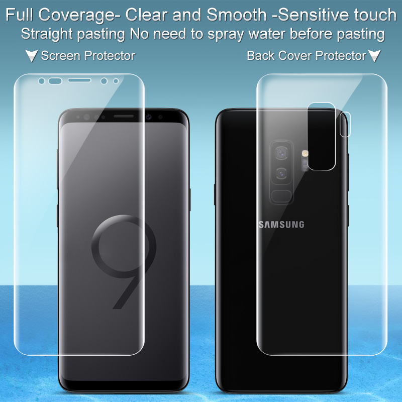 IMAK Brand Hydrogel For Samsung Galaxy S9 Plus / S9 Screen Protector Front  & Back Soft TPU Clear Smooth Sensitive Touch Film