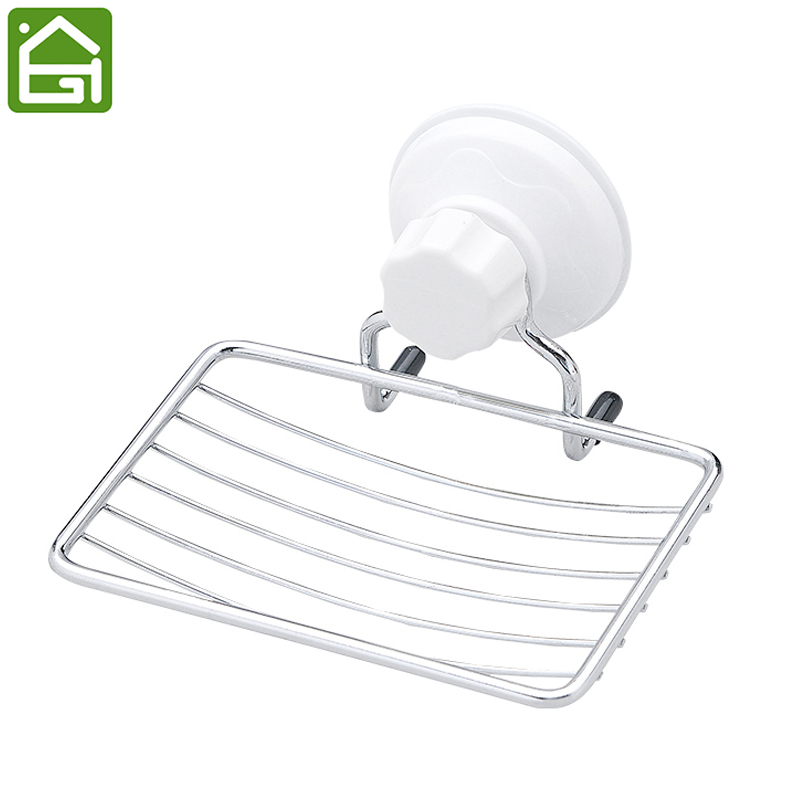 Stainless Steel Soap Dish Bathroom Wall Mounted Holder Strong Vacuum Suction Cup