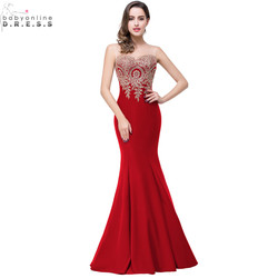 Robe de Soirée Longue Sexy Backless Red Mermaid Lace Evening Vestido Longo Apliques Baratos Vestidos de Noite Vestido de Festa