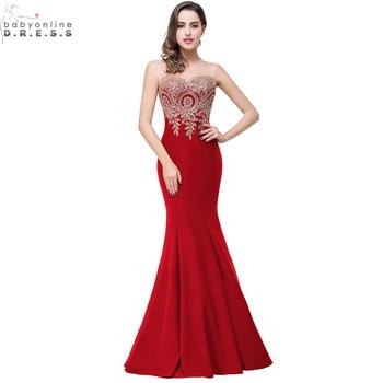Robe de Soiree Longue Sexy Backless Red Mermaid Lace Evening Dress 2017 Long  Cheap Appliques Evening a60b1dd09e77