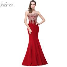 Robe de Soiree Longue Seksi Backless Kırmızı Mermaid Dantel Abiye 2016 Uzun Ucuz Aplikler Abiye giyim Vestido de Festa