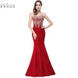 Robe de soiree longue sexy sem costas vermelho sereia rendas vestido de noite longo baratos apliques vestidos de noite