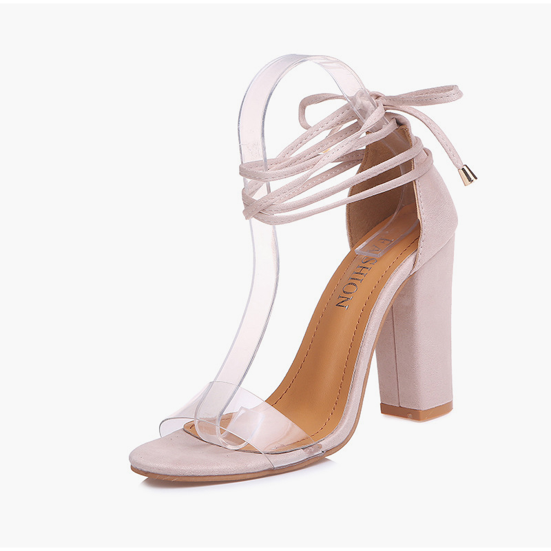 Summer Women High Heels Shoes T-stage Transparent Sandals Sexy Square Heel Pump Female Cover Heel Party Wedding Ladies Plus Size