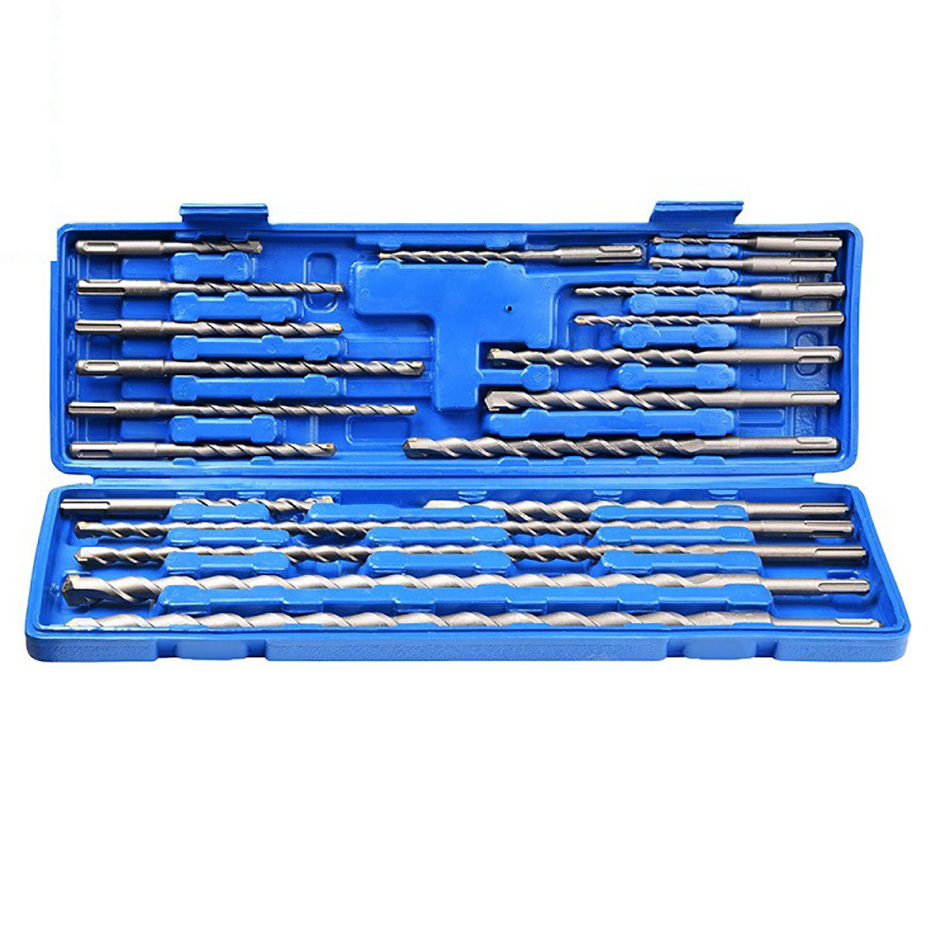 20pcs Electric Hammer Drill Bit Set Sds Chisel Plastic Box Shank Impact Rotary Concrete Masonry Drilling Grooving New