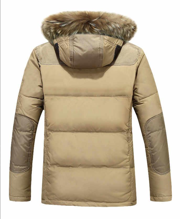 Tcyeek 2019 עבה חם חורף מעיל גברים מזדמן לבן ברווז למטה מעילי מעילי דביבון פרווה סלעית שחור Parka Pluma Hombre CJ286