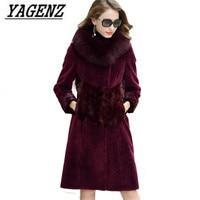 Высококачественная меховая шуба из лисы 2018, Новая Модная элегантная красивая теплая женская верхняя одежда больших размеров, зимние меховы