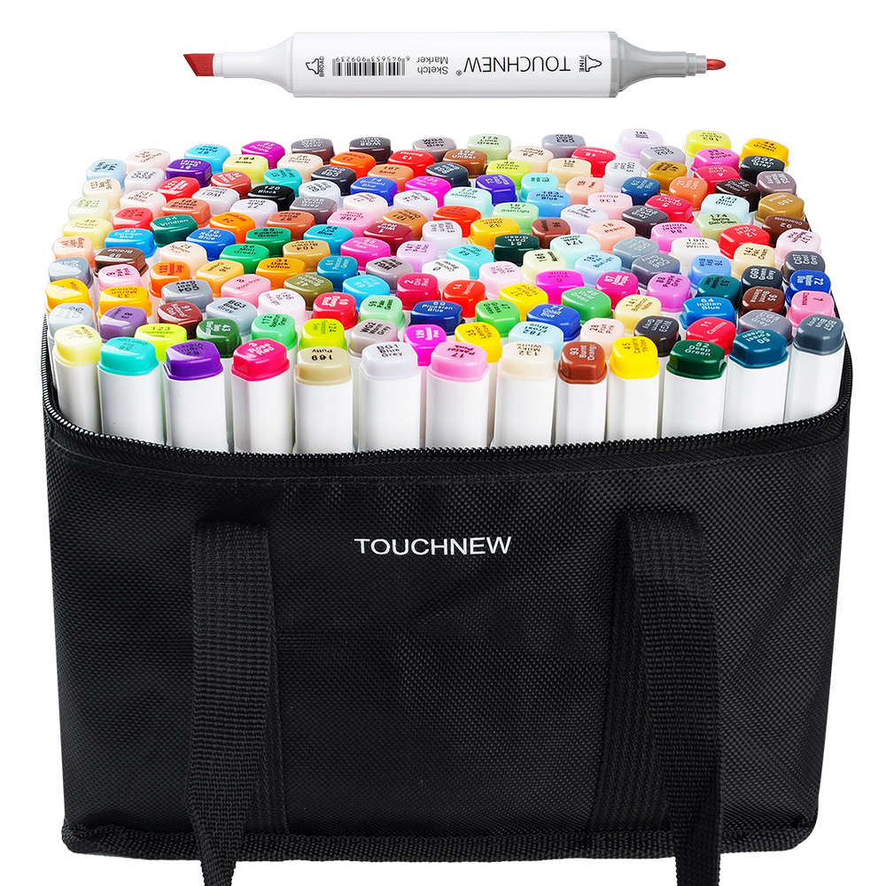TOUCHNEW 168 Color Sketch Marker Set Twin Tip Graphic Drawing Pen Alcohol Based Artist Double Head Art Marker Pen+ Pencil Bag