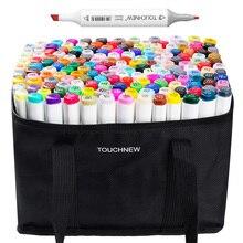 TOUCHNEW 168 цветной эскиз маркер набор Twin Tip графический Рисунок ручка на спиртовой основе художник двойная голова художественная маркер ручка + Карандаш сумка