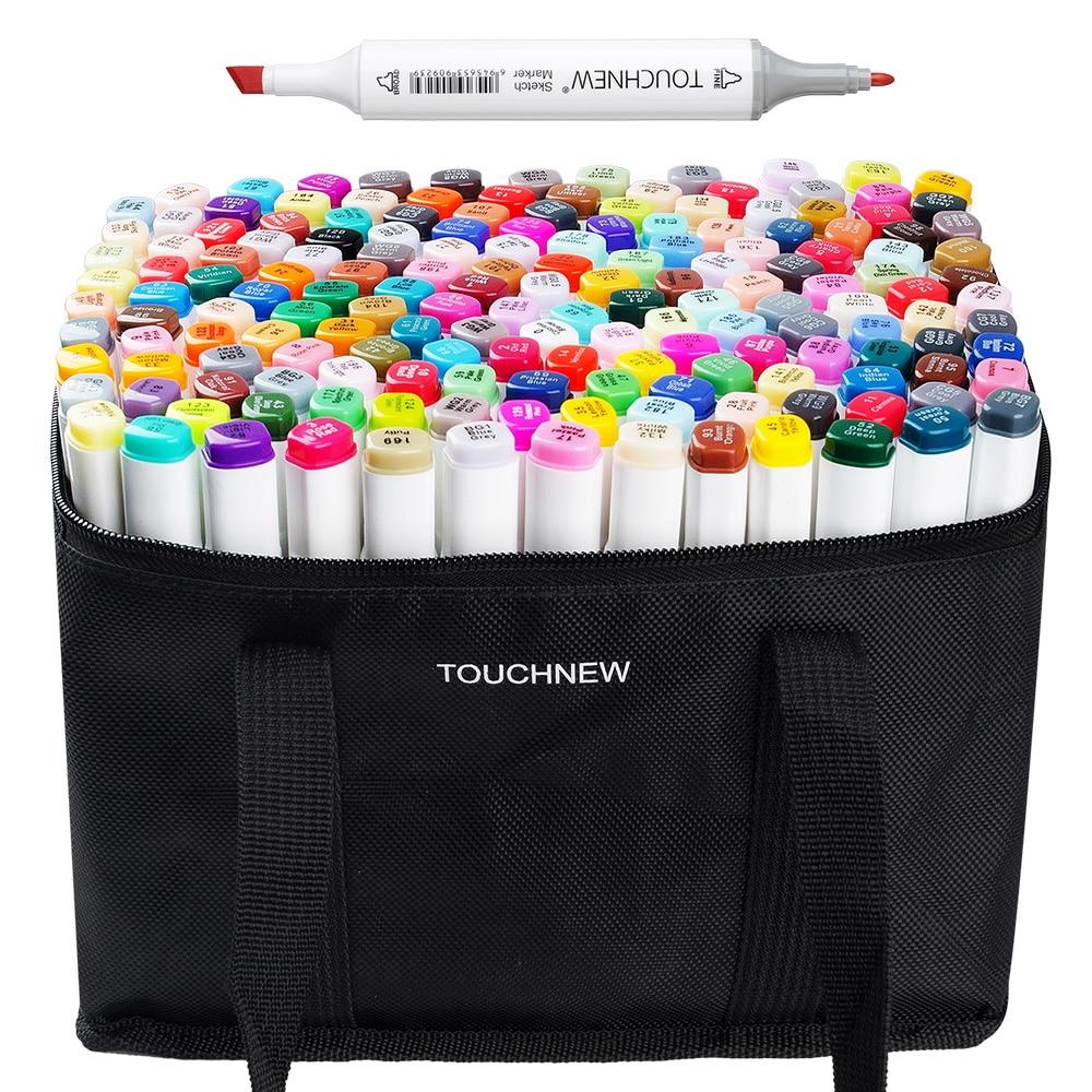 TOUCHNEW 168 Couleur Sketch Marker Set Twin Tip Graphique Dessin stylo À Base D'alcool Artiste Double Tête Art Marqueur Stylo + Crayon sac