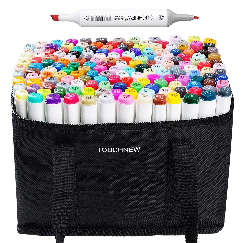 TOUCHNEW 168 Schizzo di Colore Set di Servirlo Twin Tip Grafici Disegno A Penna Artista Doppia Testa A Base di Alcol Art Marker Pen + sacchetto della matita