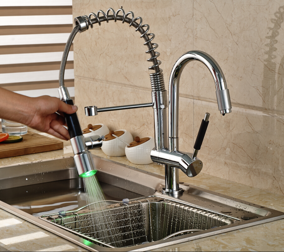 Modern Design Deck Mount Spring Double Swivel Spout Kitchen Mixer Faucet Single Handle with LED Light