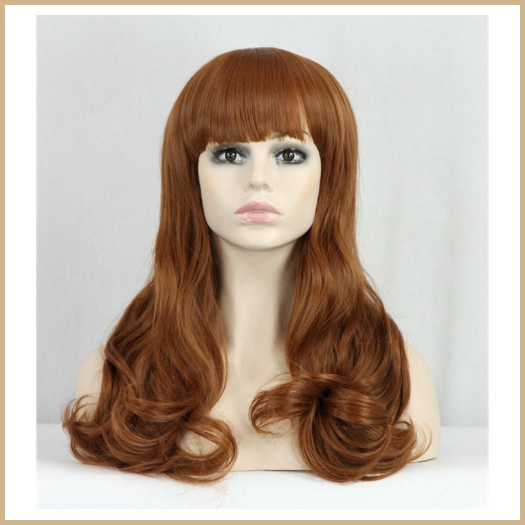 1PC Heat Resistant Synthetic Wigs For Women Long Full Head Wavy Curly Brown Color Lolita Perruque 100% Kanekalon Fiber