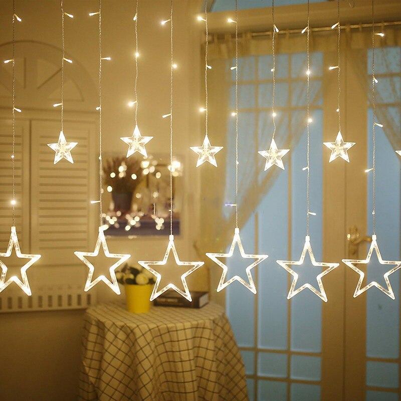 цена на Z20 Curtain lights 12 big stars small star string lights 220V 138 LEDs Christmas lights Support Tandem 5 colors
