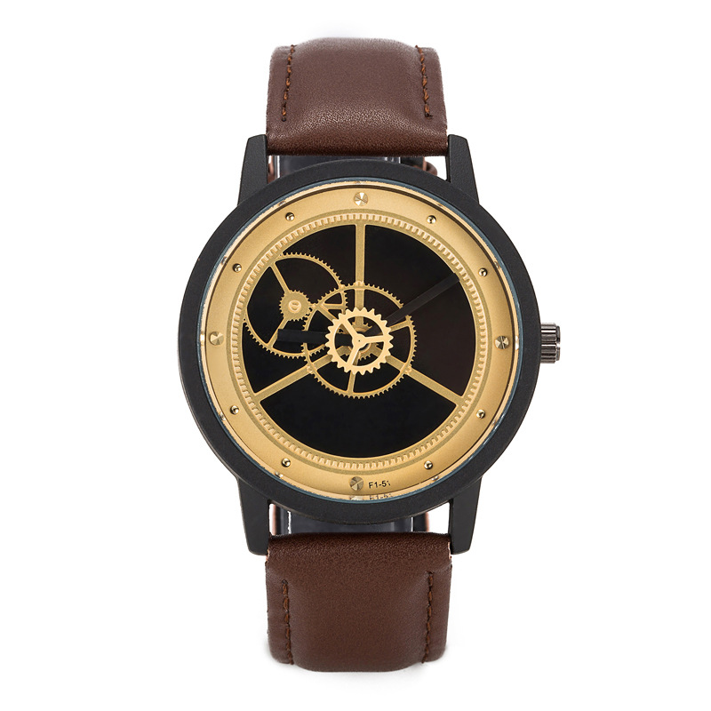 Gear style Casual Mens Watches Creative leather Quartz Watch BGG Luxury Brand male Wristwatch Business clock Hours drop shipping