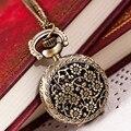 Горячие Моды Старинные Ретро Bronze Кварцевые Карманные Часы Подвеска Ожерелье Цепь