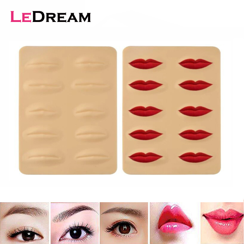 5pcs/lot 3D Silicone Permanent Makeup Tattoo Training Practice Fake False Skin Lips For Microblading Tattoo Machine Beginner