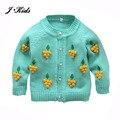 70-110 cm niñas toddle ropa 2016 Nueva lindo 3D uva perla botón de algodón tejido jersey cardigan trajes para baby girl
