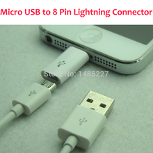 1PC Retail Android Adapter head Micro USB to Lighting 8 Pin Connector Adapter Converter USB Data Sync Charging Cable For ios9