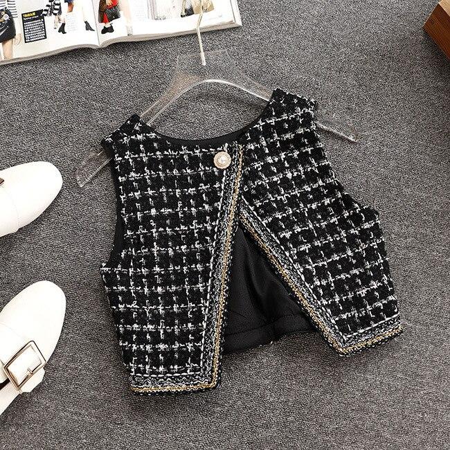 Gilet Supérieur Taille Version Trois Costume Jupe De Nouvelle Treillis Mode Tweed Courte Pièces Veste HYfwF
