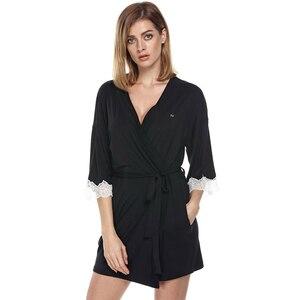 Image 5 - Ekouaer Women Sleepwear Nightwear Kimono Robe Soild Winter Autumn Casual Cotton Bathrobe Belt Elegant Bathroom Spa Robe