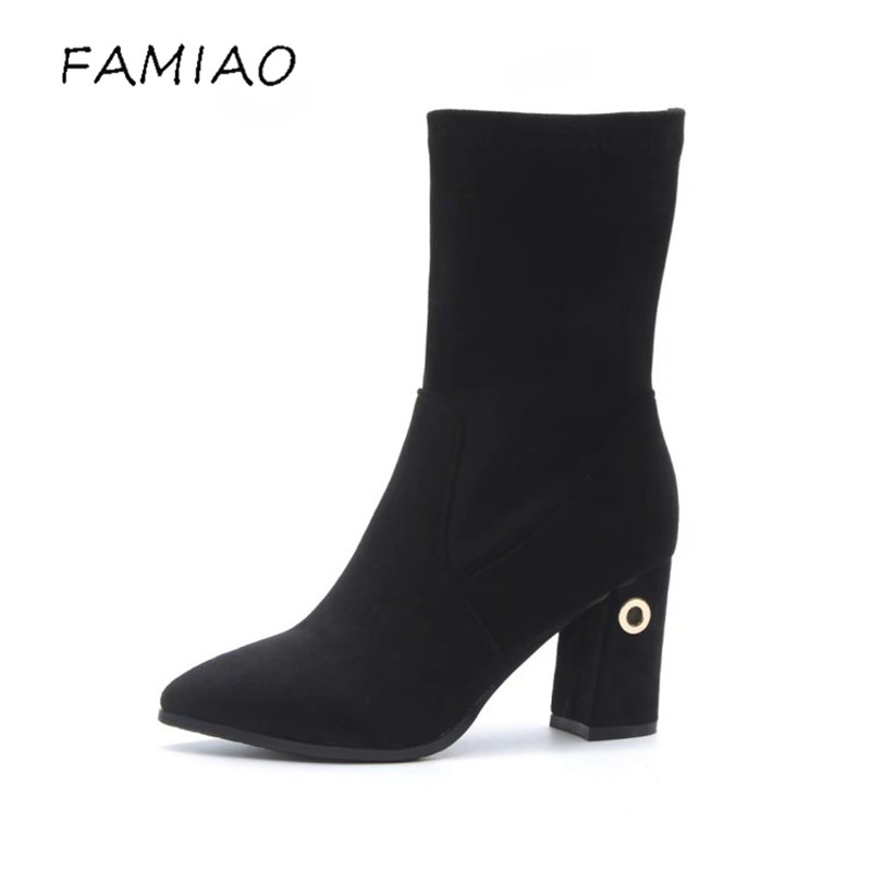 FAMIAO 2017 Fashion Female Protect Snow Boots Autumn Winter Women Mid-calf Princess Sweet Boot Stylish high heel  Flock Shoes new fashion superstar brand winter shoes embroidery snow boots tassel women mid calf boots thick heel causal motorcycles boots