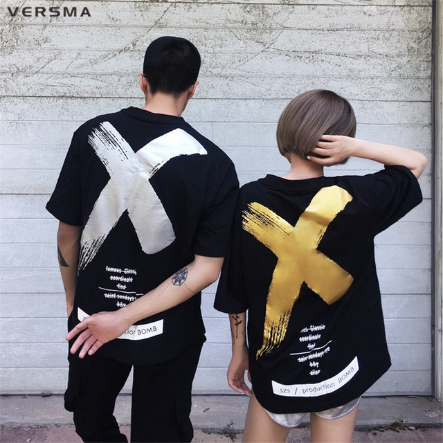 VERSMA 2017 Fashion Japanese Harajuku Printed T-shirts Men Women Summer High Street Hip Hop Oversize Loose BF Couple Tshirts Men