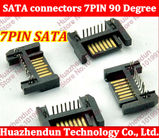 20pcs/lot Notebook desktop motherboard SATA hard disk drive interface SATA 7P DIP Right Angle(Board to correct ) connector