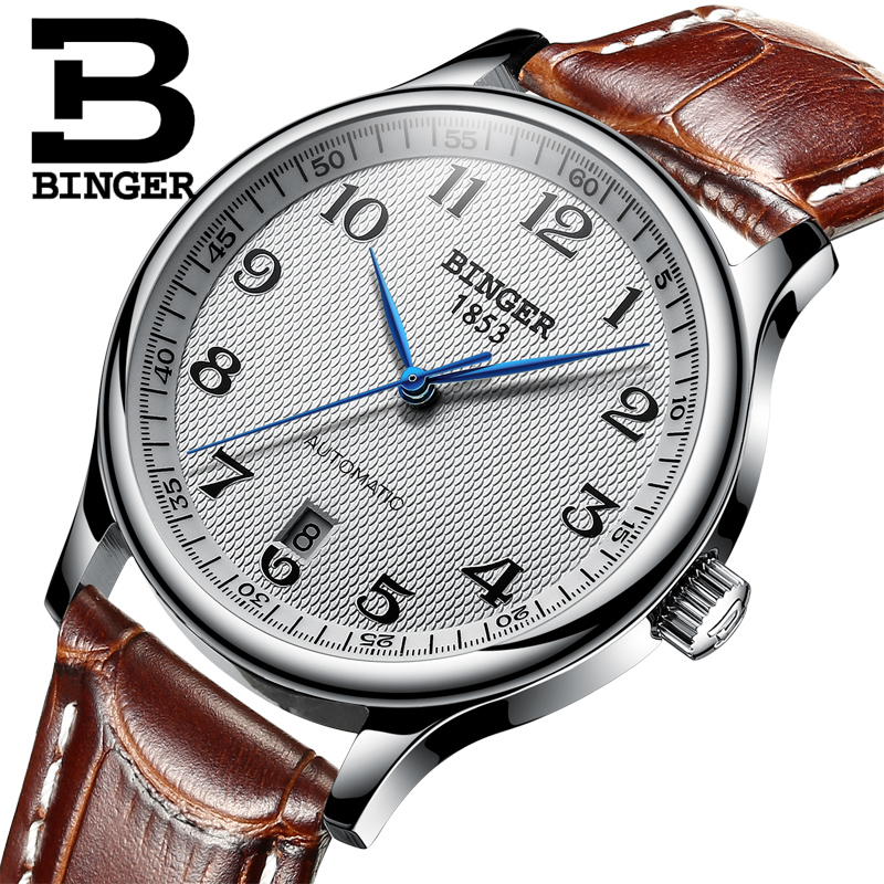 Montres BINGER d'affaires Mécanique Montres sapphire complet en acier inoxydable hommes de montres Résistant À L'eau BG-0379