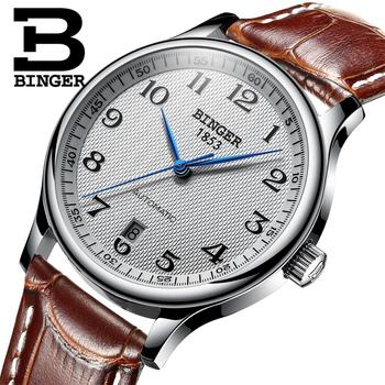 Zegarki na rękę BINGER biznesowe mechaniczne zegarki na rękę sapphire pełna zegarki męskie ze stali nierdzewnej odporny na działanie wody BG-0379 tanie i dobre opinie Przycisk ukryte zapięcie 3Bar 24cm Automatyczne self-wiatr Okrągły Skóra 20mm Odporne na wodę 38mm Szafirowe