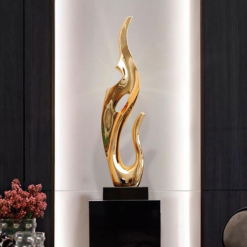 Or argent résine bureau décor Sculpture abstraite salon meuble Tv ameublement hôtel Lobby Art galvanoplastie ornements