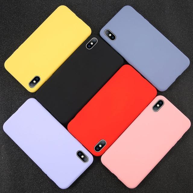 USLION Del Silicone di Caso di Colore Solido per il iPhone XS 11 Pro MAX XR X XS Max Della Caramella Custodie Del Telefono per il iPhone 11 7 6 6S 8 Più Molle Della Copertura 6