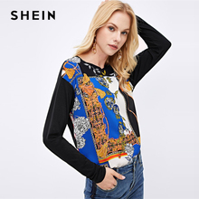 SHEIN Highstreet Multicolor Round Neck Long Sleeve Scarf Pri