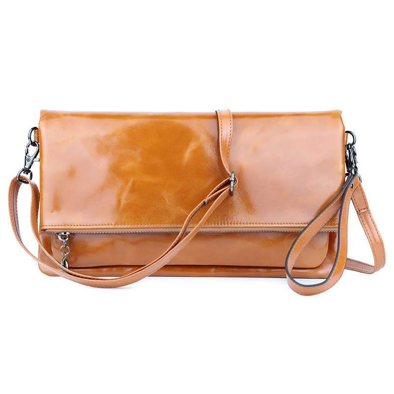 Guaranteed Luxurious Genuine Oil Waxing Leather Vintage Women Messenger Bag European And American Large Capacity Cross
