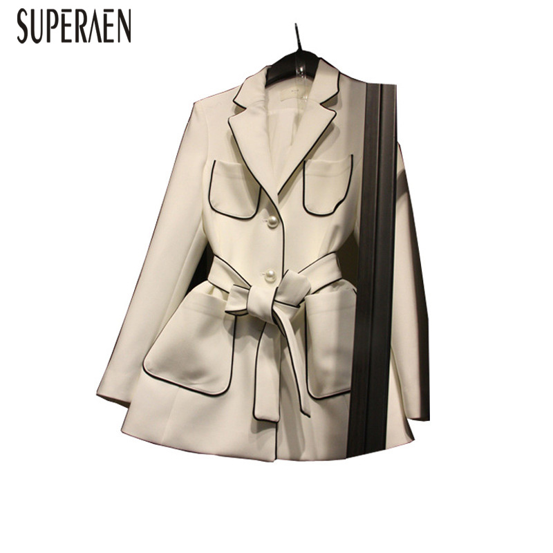 SuperAen Spring and Autumn Korean Style Women Suit Jacket Solid Color Wild Casual Fashion Ladies Jacket