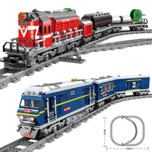 City Train Power-Driven Diesel Rail Train Cargo With Tracks Set Model Technic Building Blocks Assembly Toys for Children 98219 98220 compatible city series power driven diesel rail train cargo with track set model building blocks toys for kids