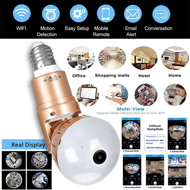1080 p hd wifi câmera ip câmera panorâmica 360 câmera de áudio em dois sentidos lâmpada e27 ir-cut mini câmera de visão noturna cctv